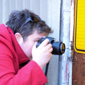 The artist, out on a photo-roam. Photo by Rachel Rosen.