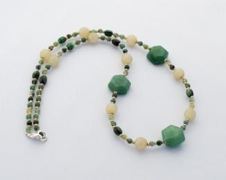 Manutine necklace with jade, agate and malachite